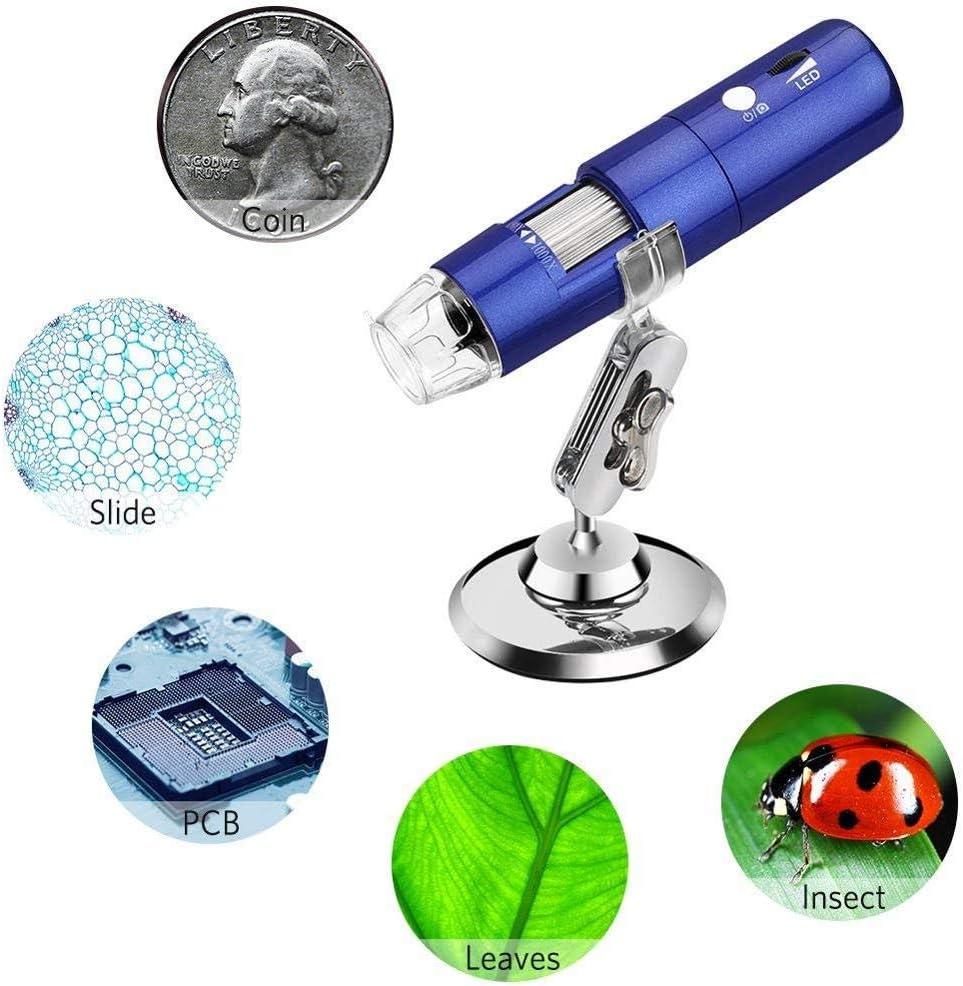 iPad Windows MAC,Blue Wireless Digital Microscope,1080P 2MP 50x to 1000x Magnification Mini Pocket Handheld WiFi Wireless Microscope for Kids iPhone Android