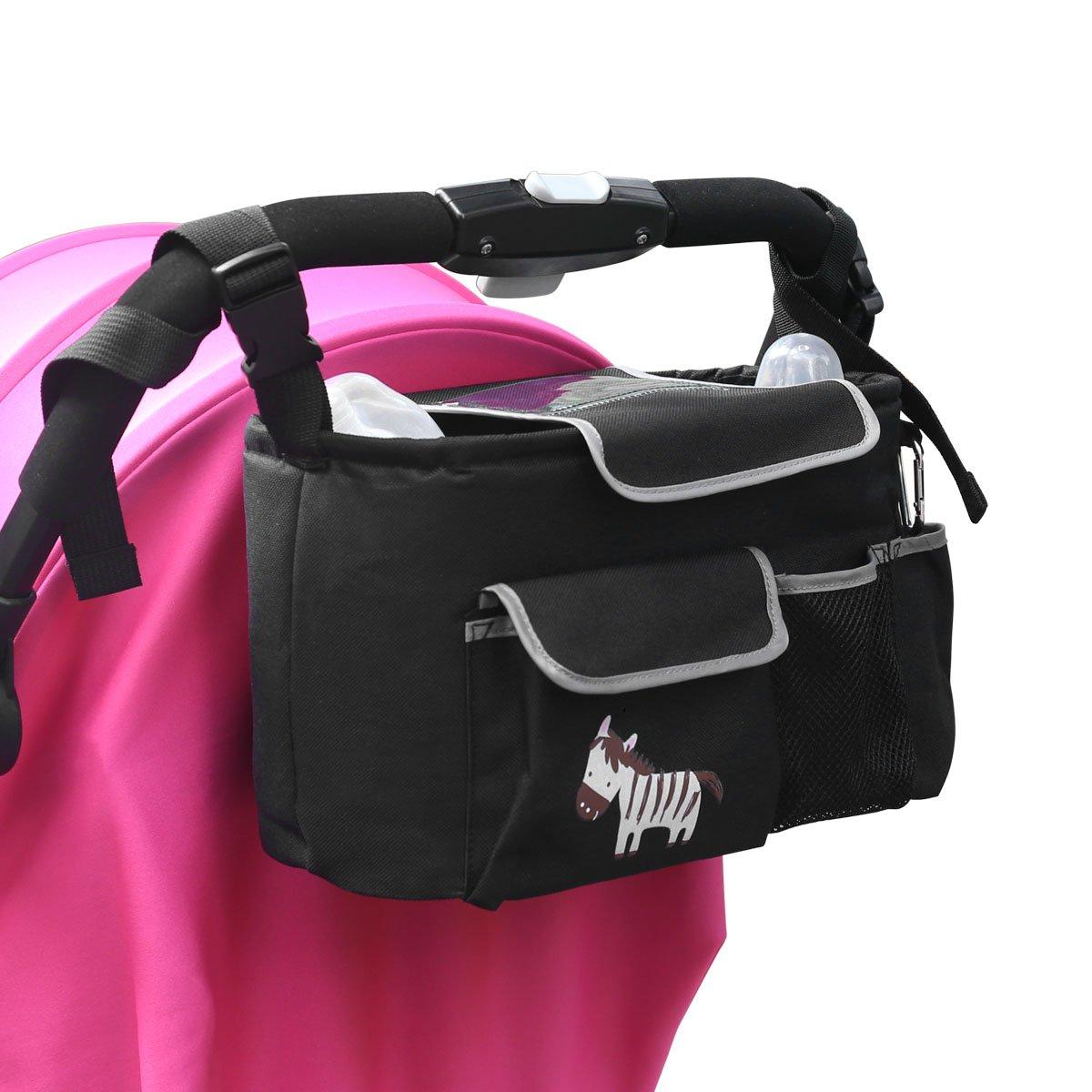Baby Buggy Organiser Pram Buggy Buddy Stroller Organiser Storage Bag Universal for Traveling or Outings with Bottle Holders