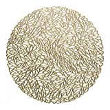 Occasions 10 Pack Pressed Vinyl Metallic Placemats/Charger / Wedding Accent Centerpiece (10, Spring, Gold)