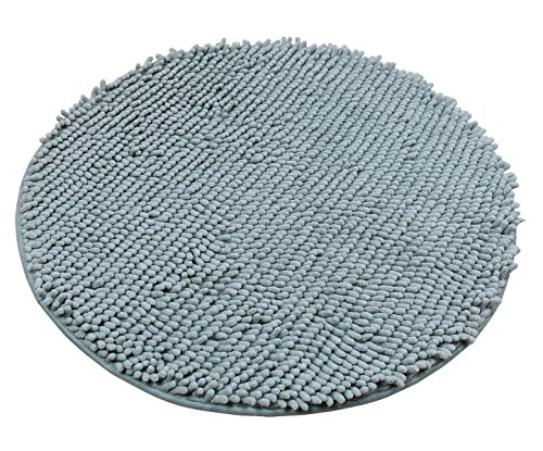 """Luxbon Soft Touch Round Rug Approx.23.6""""x23.6"""" Fashion SilverGrey Flexible/Soft/Smooth Carpet/Mat/Rug Suitable For Stairway/Toilet/Study/Floor/Bedroom/Living Room/Bathroom/Kitchen/Area"""