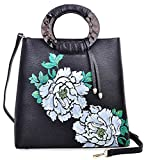 Pijushi Designer Floral Purses Women's Top Handle Handbag Leather Tote Bag Holiday Gift 6013 (Peony Floral Black/Lemon Yellow)