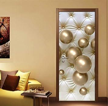 Pegatinas De Decoración De Puertas De Dormitorio Balón De Oro 3D ...