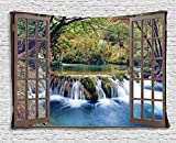 Ambesonne House Decor Tapestry, Wide Waterfall Deep down in the Forest Seen from A City Window Epic Surreal Decorative Print, Wall Hanging for Bedroom Living Room Dorm, 80 W X 60 L, Multicolor