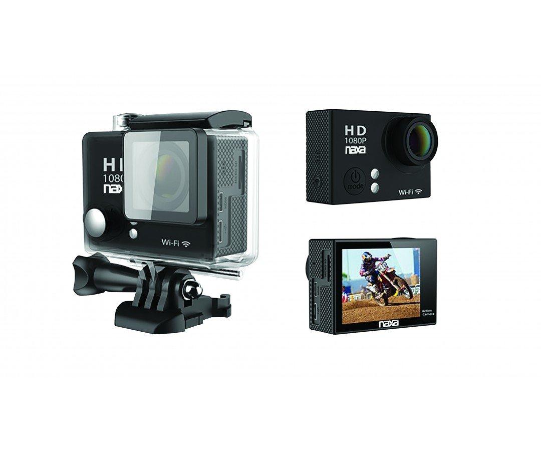 NAXA Electronics NDC-404 Waterproof HD 1080p Action Camera Wi-Fi, Shiny Black (NDC-404)