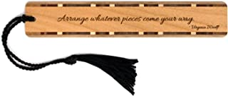 product image for Quote by Virginia Woolf - Engraved Wooden Bookmark with Black Rope Tassel