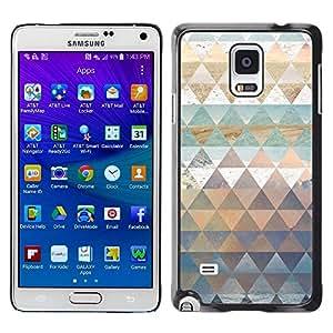 FECELL CITY // Duro Aluminio Pegatina PC Caso decorativo Funda Carcasa de Protección para Samsung Galaxy Note 4 SM-N910 // Pattern Triangle Shapes Gold