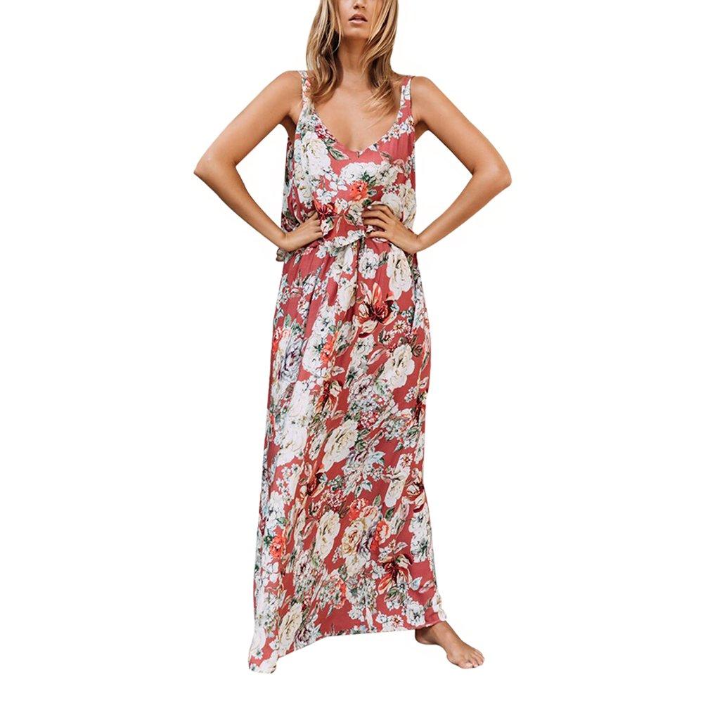 Lrud Women's Floral Print V Neck Loose Casual Sleeveless Beach Boho Maxi Dress Pink-M
