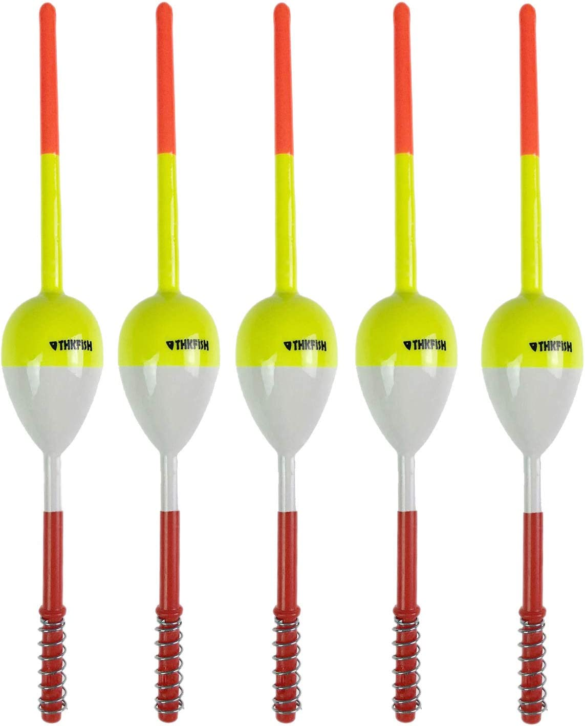 """thkfish Fishing Floats and Bobbers Balsa Wood Floats Spring Bobbers Oval Stick Floats Slip Bobbers for Crappie Panfish Walleyes(1""""X0.7""""X6"""") (1.25""""X0.75""""X6"""") (2""""X1.14""""X5.86"""") 5pcs"""