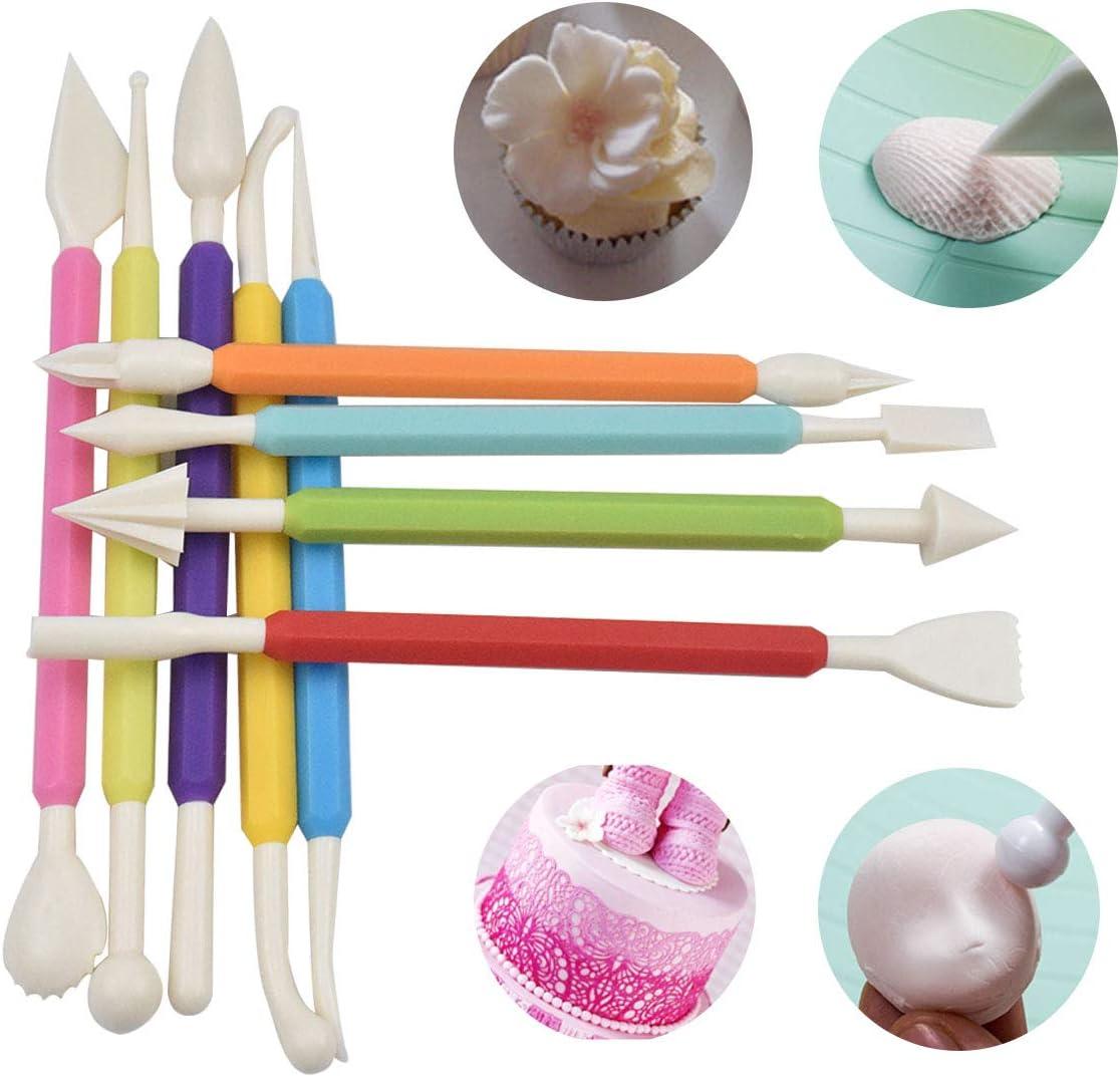 Cortador de Pastel de Fondant Herramientas para Ceramica 9 Piezas Herramienta de Modelado de Fondant Decorar Fondant Herramientas de Modelado de Plastilina Cortadores Flores Fondant Rodillo