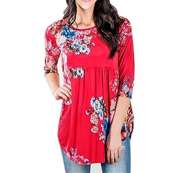 Las mujeres de la ropa, luniwei Womens Casual Manga Tres Cuartos Estampado Floral blusas Tops
