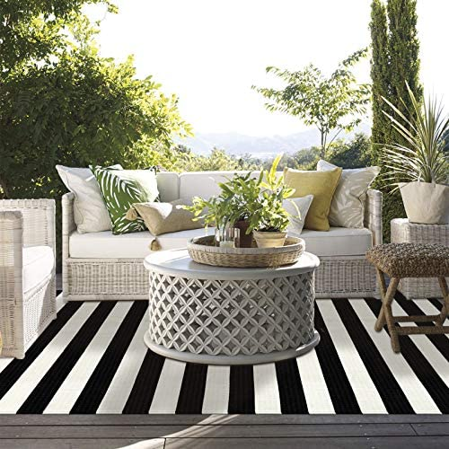 LEEVAN Black and White Striped Area Rug 4 x 6 ft Outdoor Patio Rug Woven Washable Farmhouse Collection Runner Rugs Cotton Floor Carpet