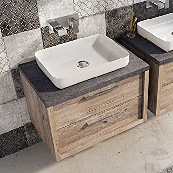 Tila Bare Oak Bathroom Wall Hung Vanity Unit Composite Resin Basin 75cm