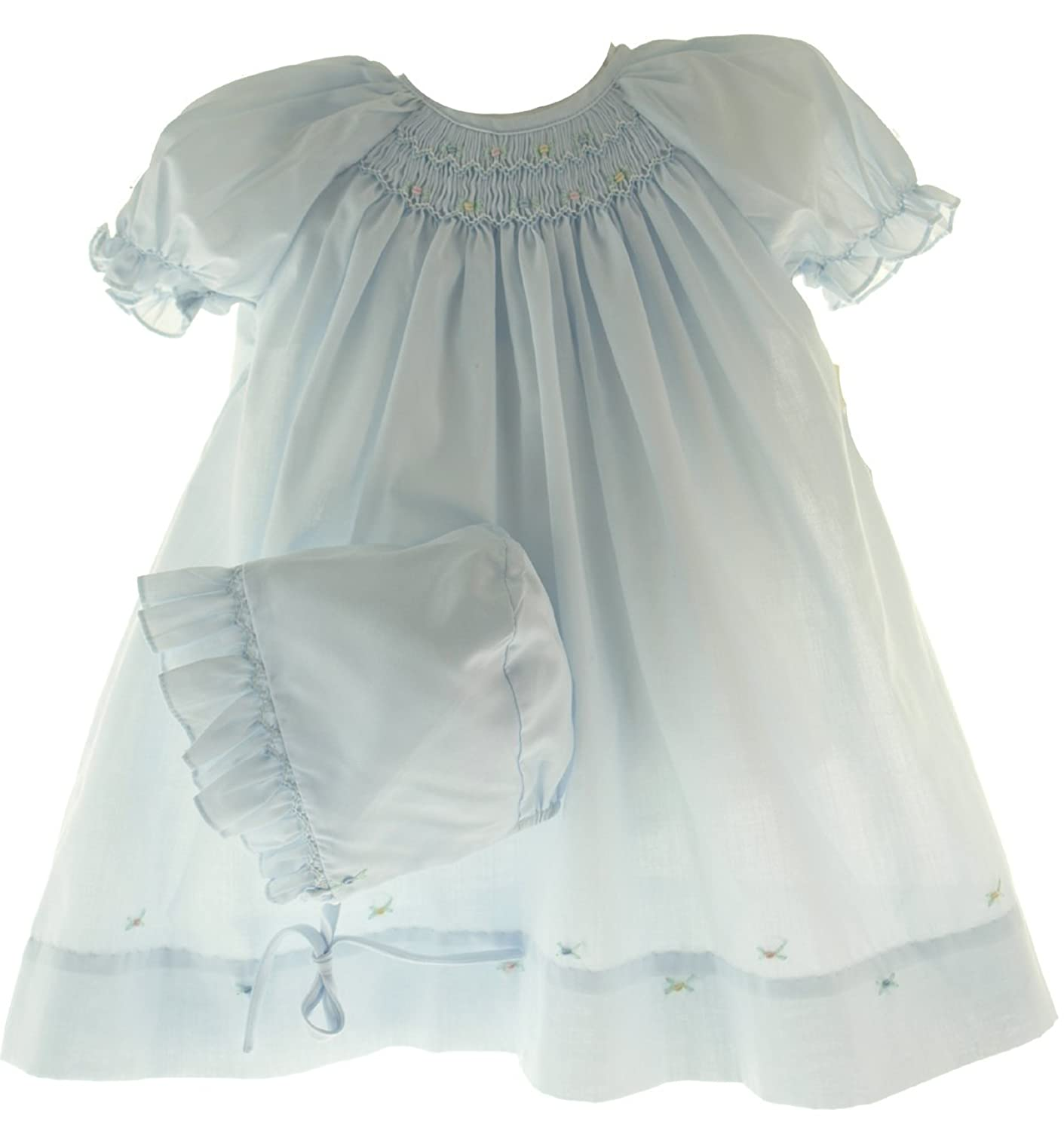 Amazon.com: Newborn Baby Girls Layette Blue Smocked Take Home Day ...