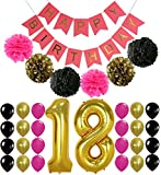 18th BIRTHDAY DECORATIONS - Perfect 18 Birthday Party Supplies | Giant 18 Balloon Number | Hot Pink Birthday Banner | Hot Pink,Gold, Black Tissue Paper Pom Pom and Balloons | 18th bday decor