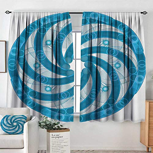 Elliot Dorothy Rod Pocket Curtains Spires,Computer Rendered Abstract Fractal Design Rotary Turning Futuristic Hole Tube Whirl Design,Blue,for Room Darkening Panels for Living Room, Bedroom 42