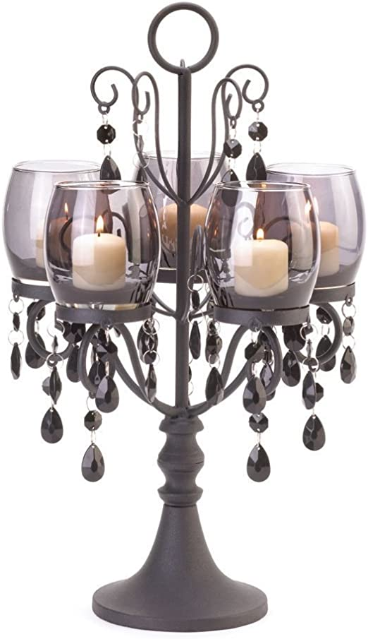 large crystal chandelier table top centerpieces for.htm amazon com midnight elegance candleabra home   kitchen  midnight elegance candleabra