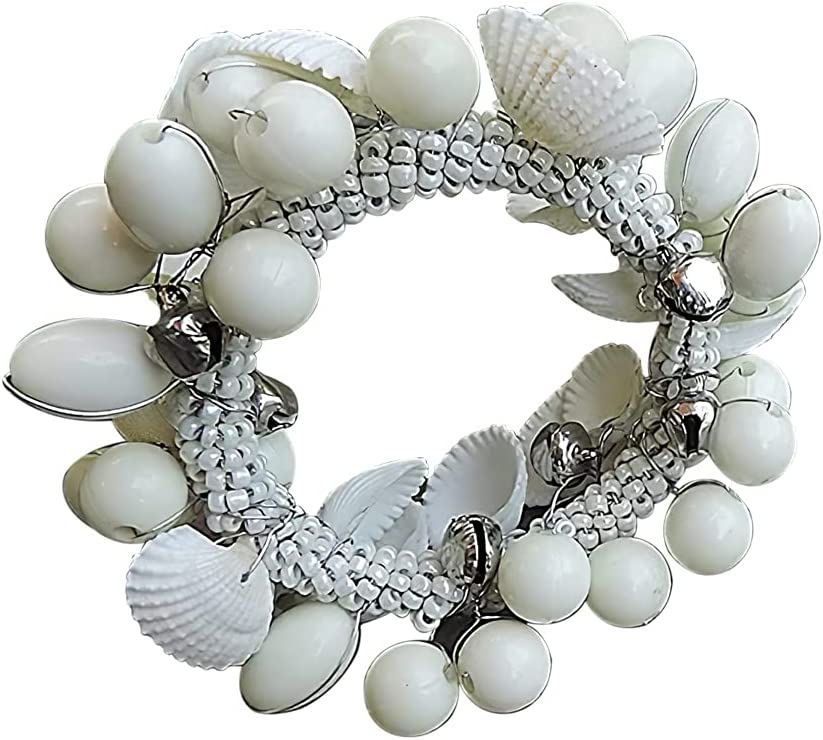 Trunkin Set of 4 White Colored Iron/River Shell & Beaded Napkin Rings for Dinner Table Decoration | Parties, Holidays, Weddings, Picnics | Banquet Table Décor | Casual or Formal Occasions | Home Décor