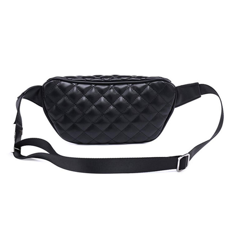 PU Leather Waist Bag Women Pack Belt Bag Classic Plaid Leather Chest Bags