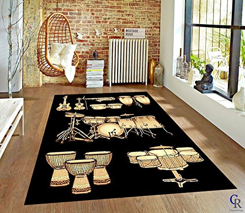 "Guitars Drum Set Rug Living Room Carpet Musical Floor Mat Music Room (5' 3"" X 7' 5"")"