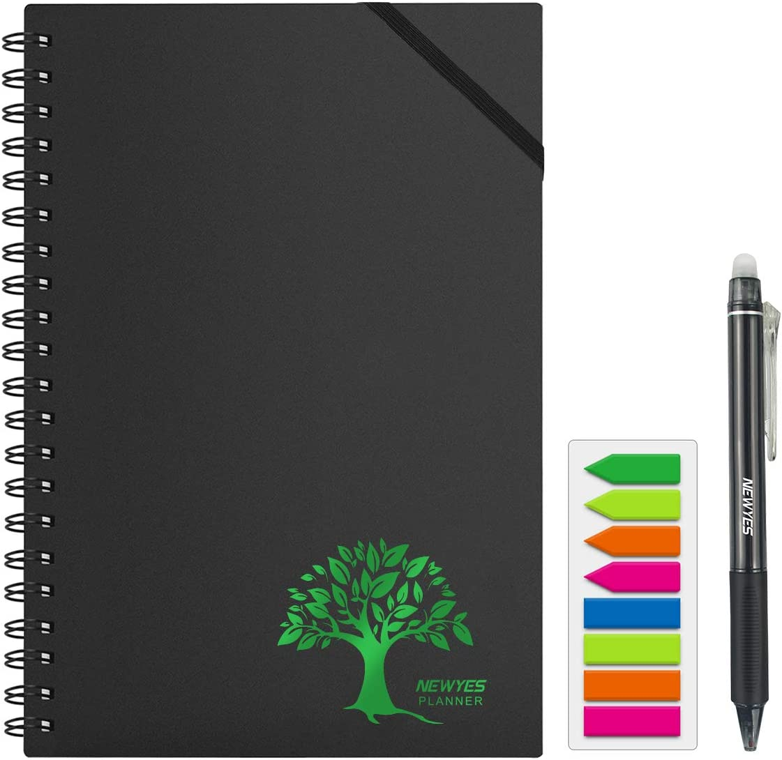 NEWYES Reusable Planner, Undated Yearly/Weekly/Monthly Calendar, Smart Personal Organizer with Cloud Storage for Office Workers/Students/Teachers [Erasable Pen and Colorful Tabs Included]