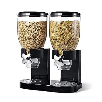 El alimento seco Dispensador, cocina doble hermético transparente de plástico contenedor de almacenamiento de cereales