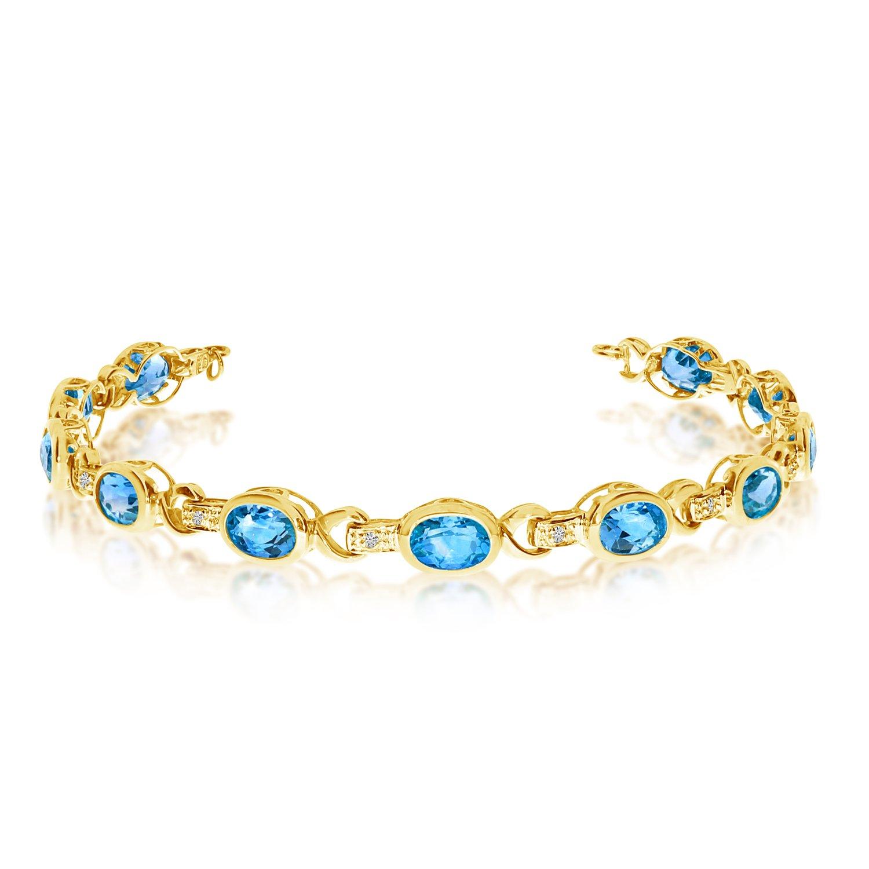 10K Yellow Gold Oval Blue Topaz and Diamond Bracelet (9 Inch Length)