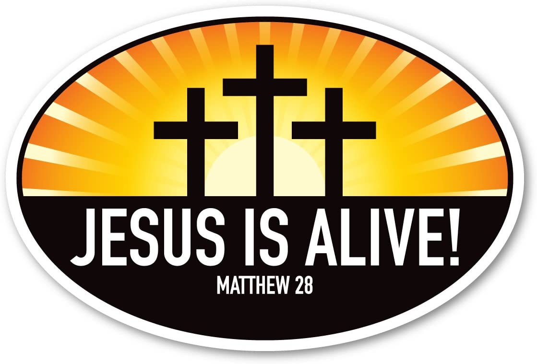 Jesus is Alive Oval Magnet
