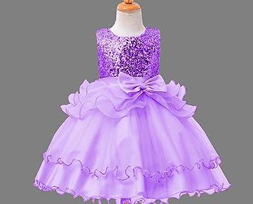 Vestido de Princesa sin Mangas para niñas Vestido sin Mangas con Lentejuelas Vestido para el Baile