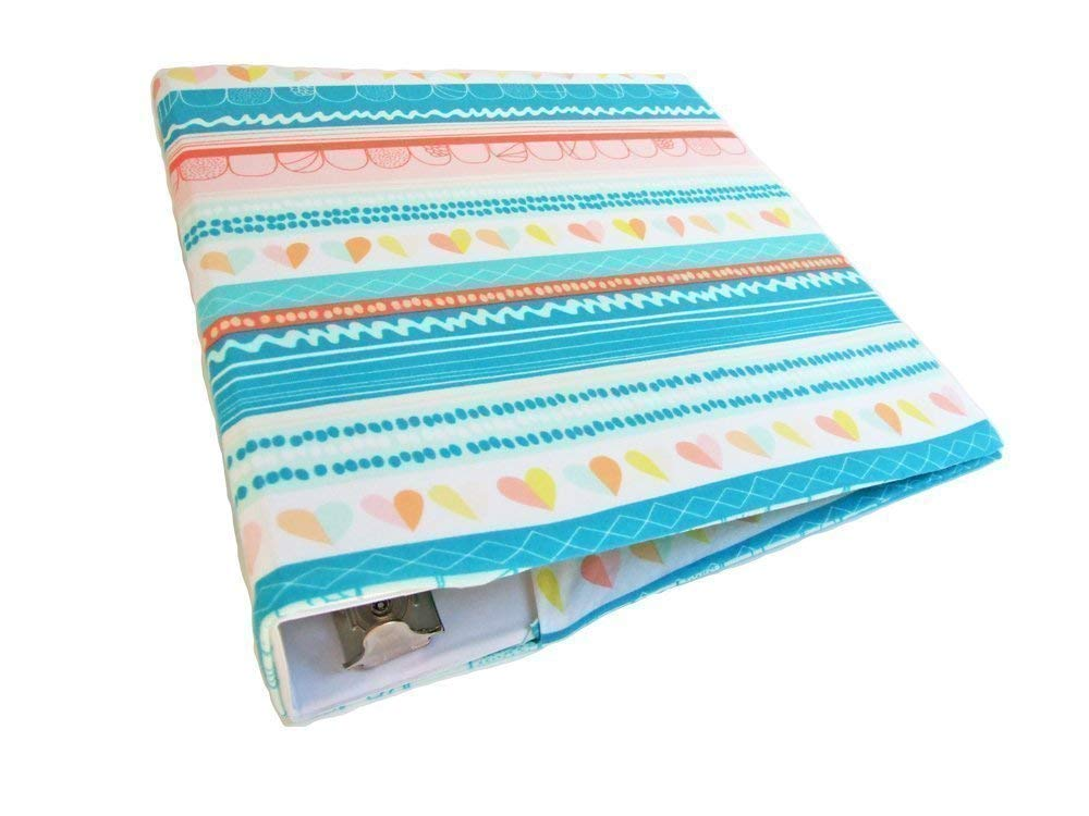 3 Ring Binder Cover in TURQUOISE HEARTS & STRIPES Stretch, Fabric Binder Cover for 2-3 inch Wide Standard 8.5 x 11 Binder