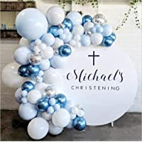 LDFWAYAU Balloon Arch & Garland Kit 104Pcs Blue White Confetti Latex Balloons with Balloon Strip and Glue Dots for Baby…