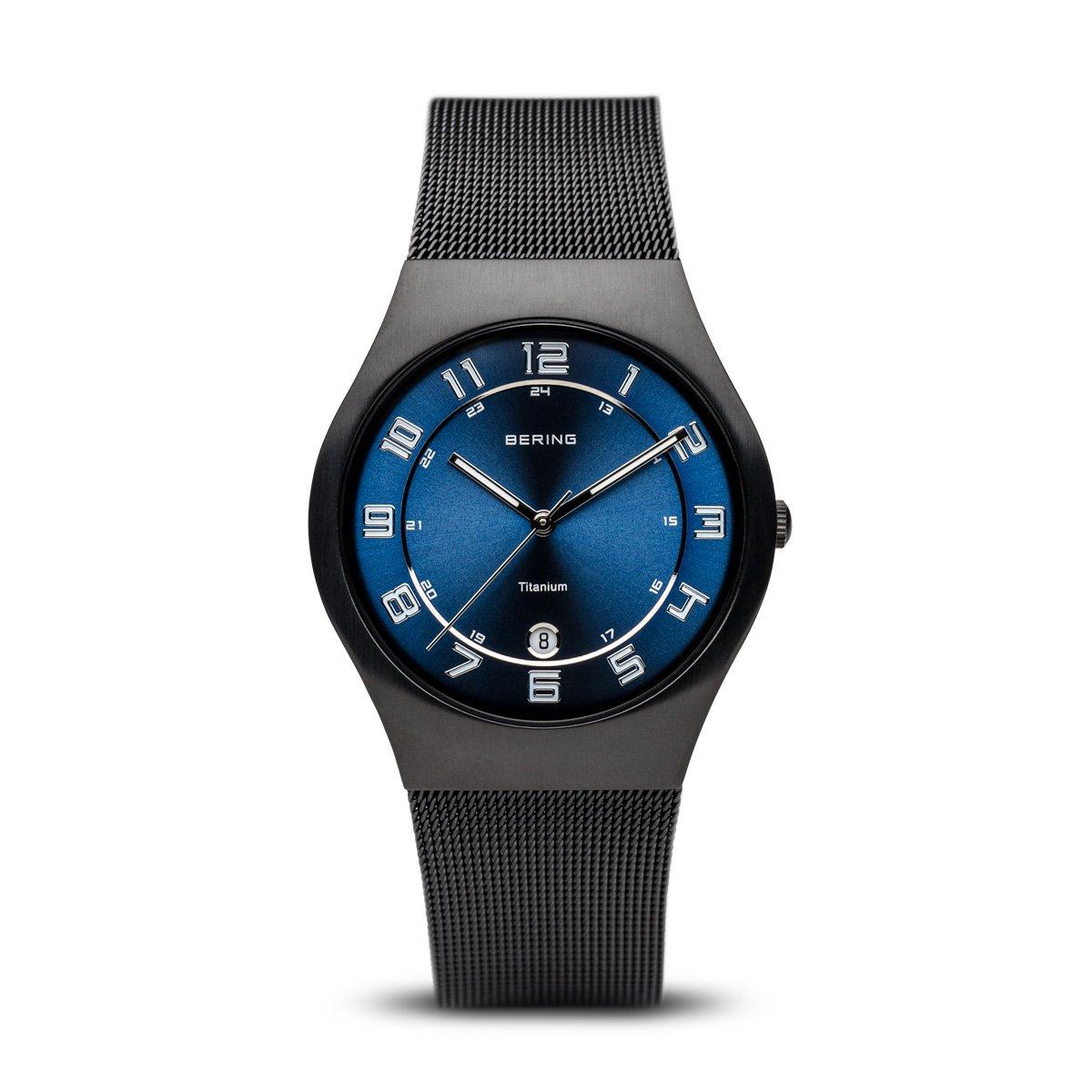 Bering Classic - Reloj analógico de caballero de cuarzo con correa de acero inoxidable negra - sumergible a 50 metros