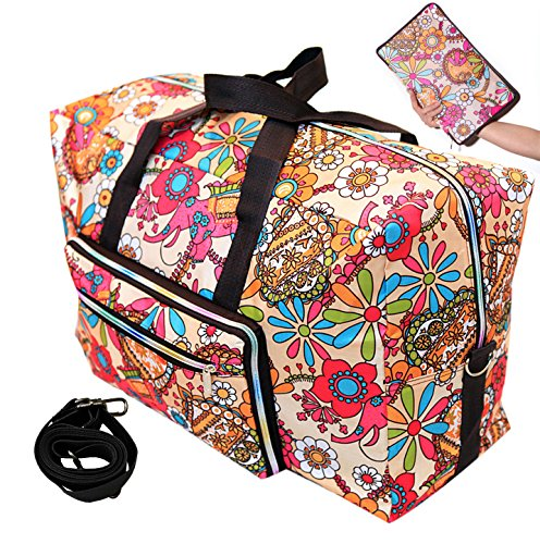 Travel Bag Foldable Large Travel Duffel Checked Bag Carry On Bag Luggage Tote Lightweight Tote Bag Weekender Bag 21.6IN x 9.8IN x 13.7IN (sun flower)