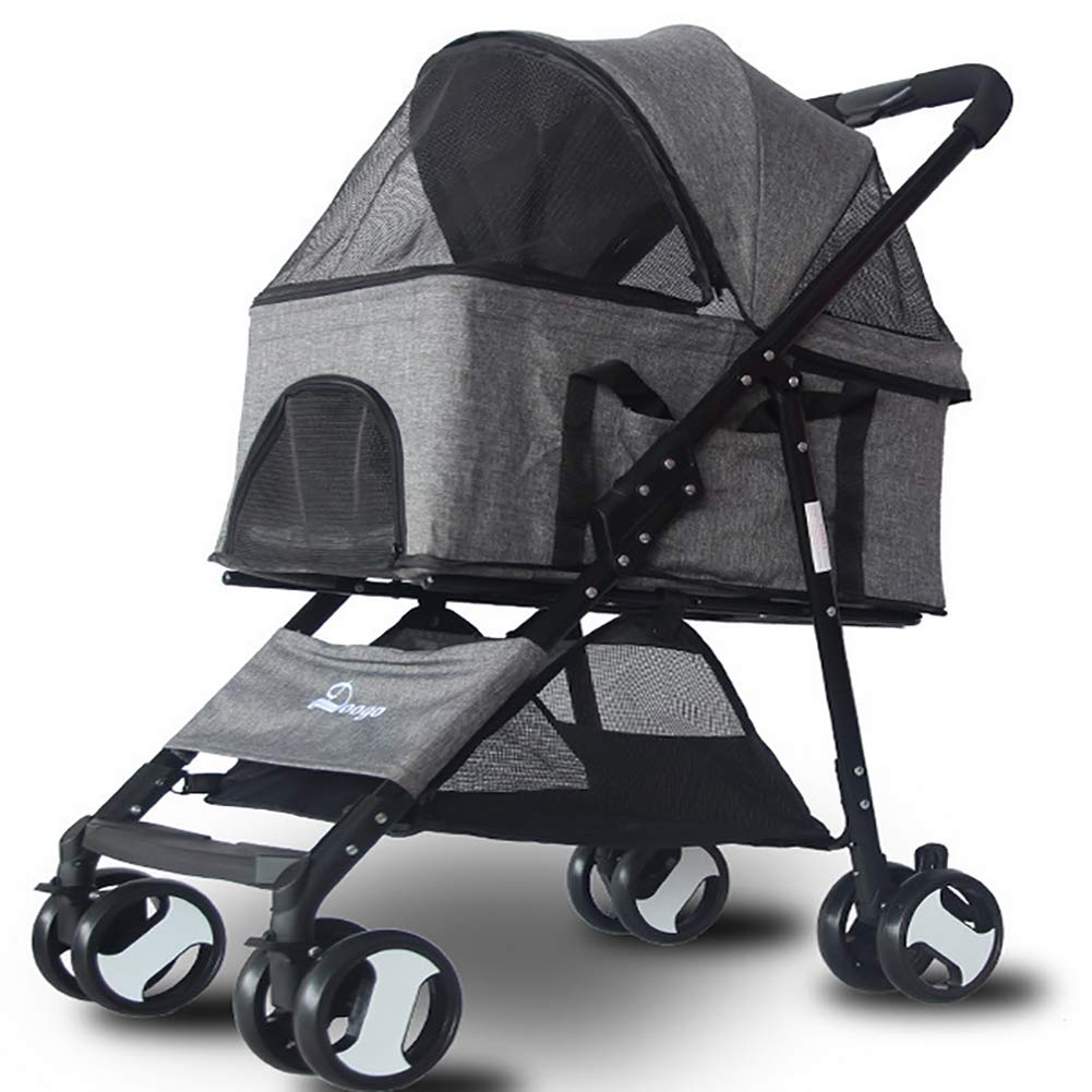 Grey LOHUA Pet Stroller-for Dog Cat 4 Wheels Waterproof Portable Travel for Small, Medium, Pets with Detach Carrier Multiple colors