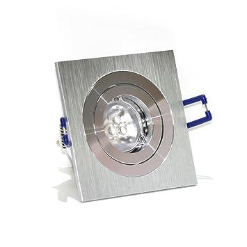 Foco LED Basculante cuadrado 2 aros Níquel 4,5W blanco frio ...