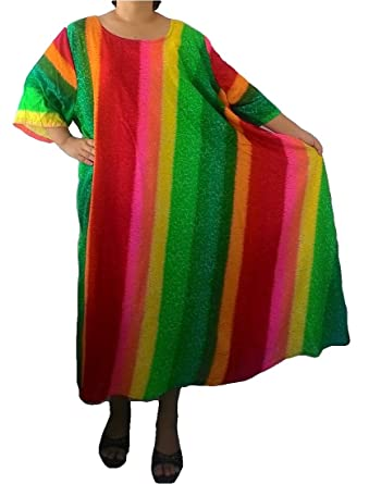 ce8b3569086 Trendyloosefit Women s Plus Size Loose Fit Maxi Long Dress Rayon Rainbow  (Multi Color Green) at Amazon Women s Clothing store