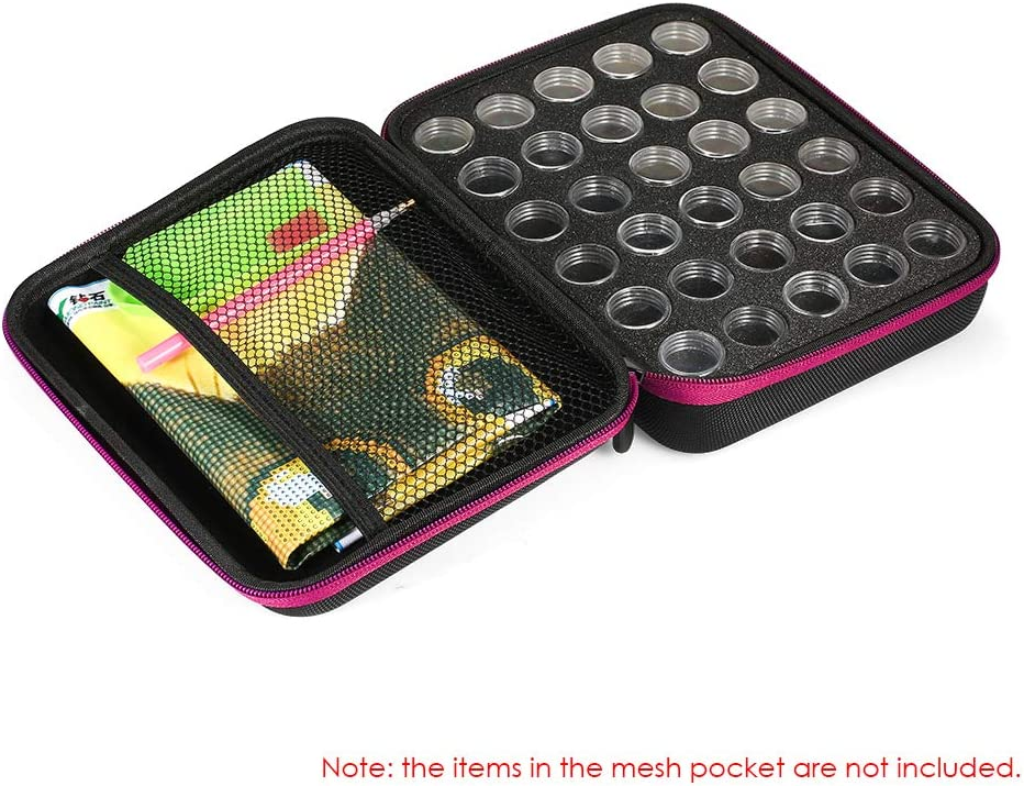 Galapara 30 Bottles Slots Diamond Painting Storage Case Diamond Painting Box Accessory Storage Boxes Shockproof Drop-Proof Double-Zipper Closure Embroidery Rhinestones Storage Container Big Case