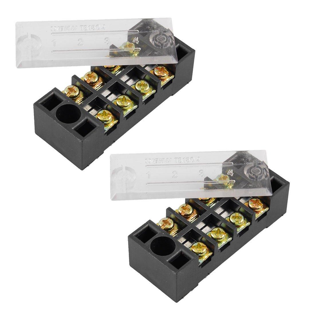 Sourcingmap® 600V 15A Double rangée 4 Positions borniers vis barrière 2 pcs sourcing map a12032000ux0569