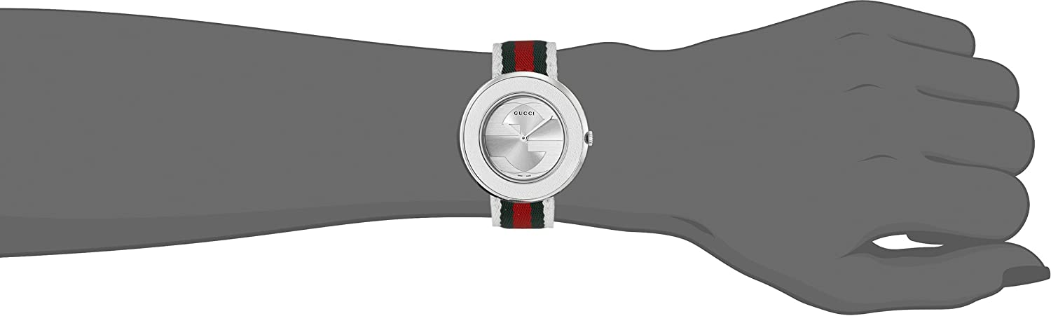 3c9a092c868 Buy Gucci Women s YA129411 U-Play Medium Stainless Steel Watch with  Tricolored Nylon Strap Online at Low Prices in India - Amazon.in