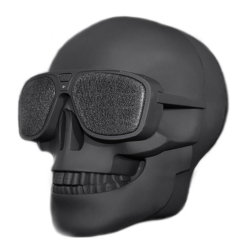 Skull Head Speaker Portable Bluetooth Speakers 10W Output Bass Stereo with DSP Compatible for Desktop PC/Laptop/Mobile Phone/MP3/MP4 Player for Halloween Unique Gift Party Traveling&Outdoor -Black