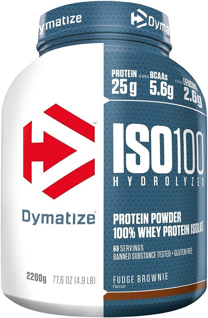 Dymatize ISO 100 Fudge Brownie 2,2kg - Hidrolizado de Proteína de Suero Whey + Aislado en Polvo