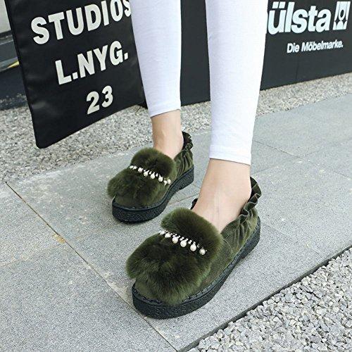 Mee Shoes Damen süß flach Pompon Pumps Grün