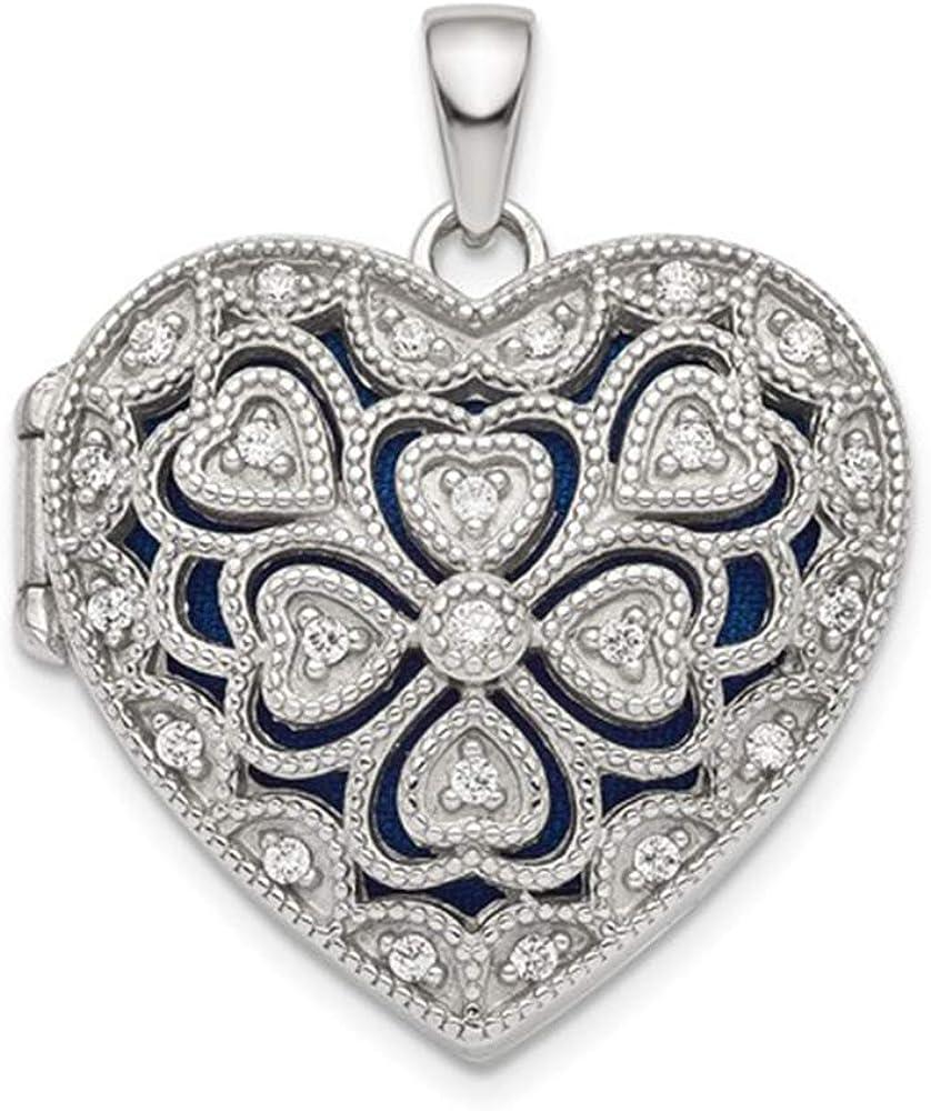 Brilliant Bijou Solid .925 Sterling Silver Rhodium-Plated Fancy CZ Heart Locket 24.5 mm