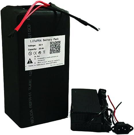 36 V 20 AH LiFePO4 Batería de litio Power Pack y cargador de BMS para ebike patinete motor eléctrico: Amazon.es: Deportes y aire libre