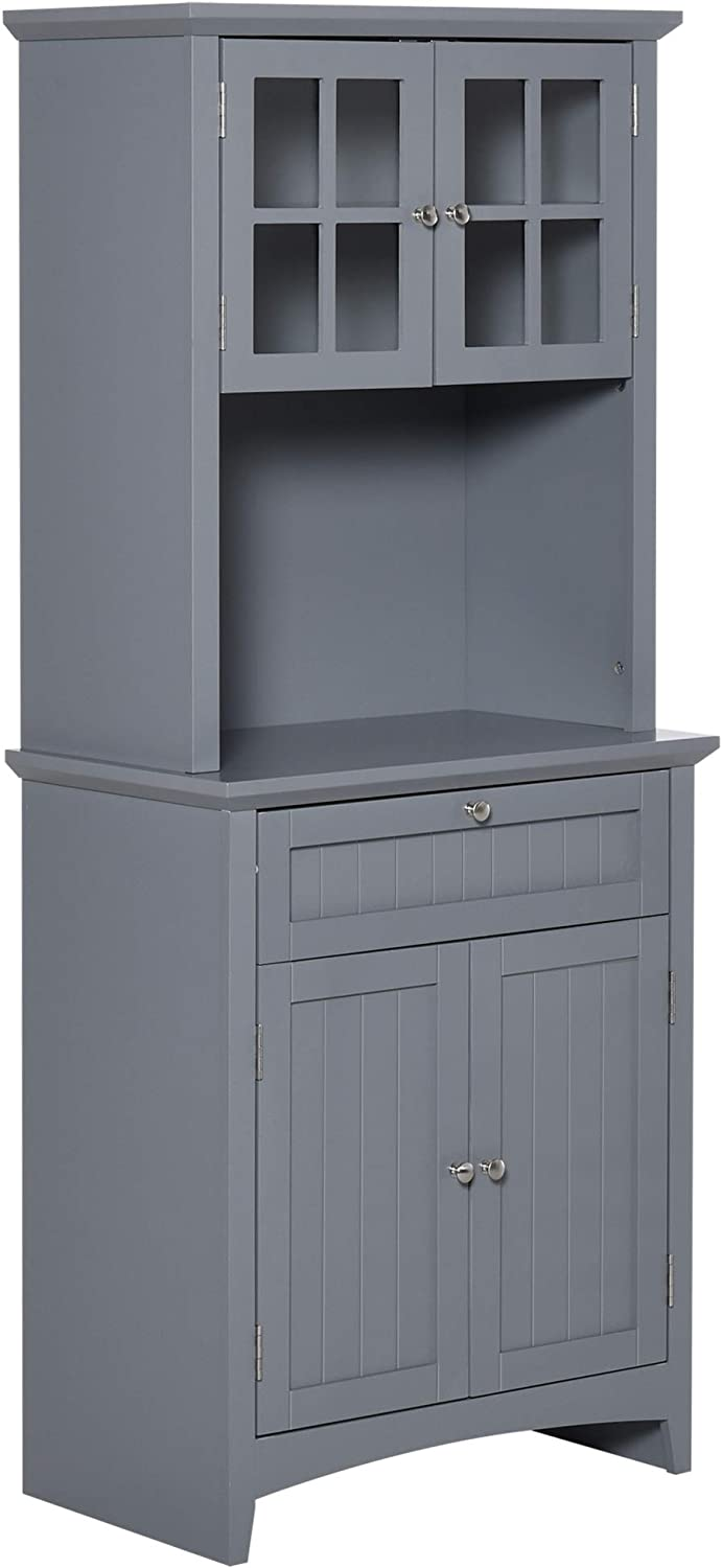 HOMCOM Kitchen Buffet Hutch Wooden Storage Cupboard with Framed Glass Door, Drawer and Microwave Space, Grey
