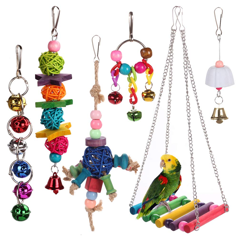 HAPPYTOY Bird Parrot Toys Play Set for Bird Cage, Colorful Chewing Hanging Swing Toy Bells, Ladder Swing for Small Parrots, Macaws, Parakeets, Conures, Cockatiels, Love Birds (Bird Swing Set5) by HAPPYTOY