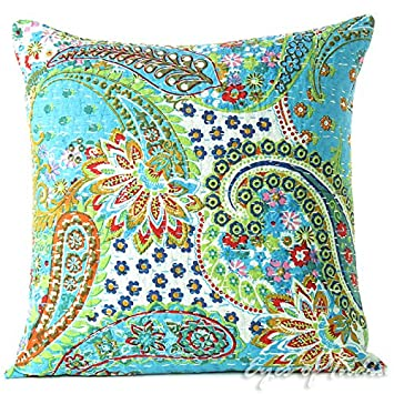 Buy EYES OF INDIA 16 BLUE KANTHA DECORATIVE THROW COUCH CUSHION
