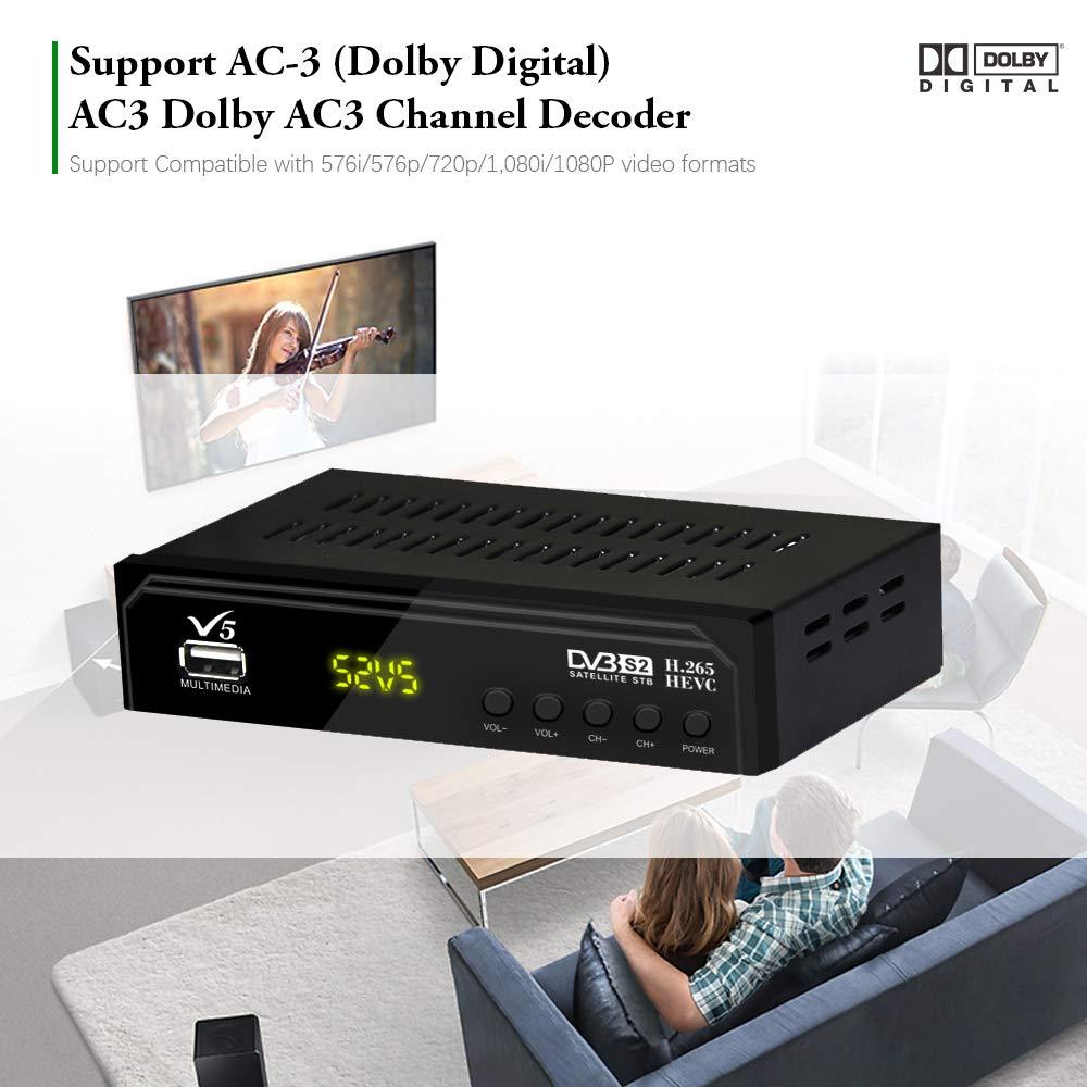 Receptor sat/élite V5 Full HD DVB-S//S2 para Monitor de TV o LCD Compatible con H.265 decodificador EPG Completo en 7 d/ías Soporte USB PVR Vmade sintonizador Digital