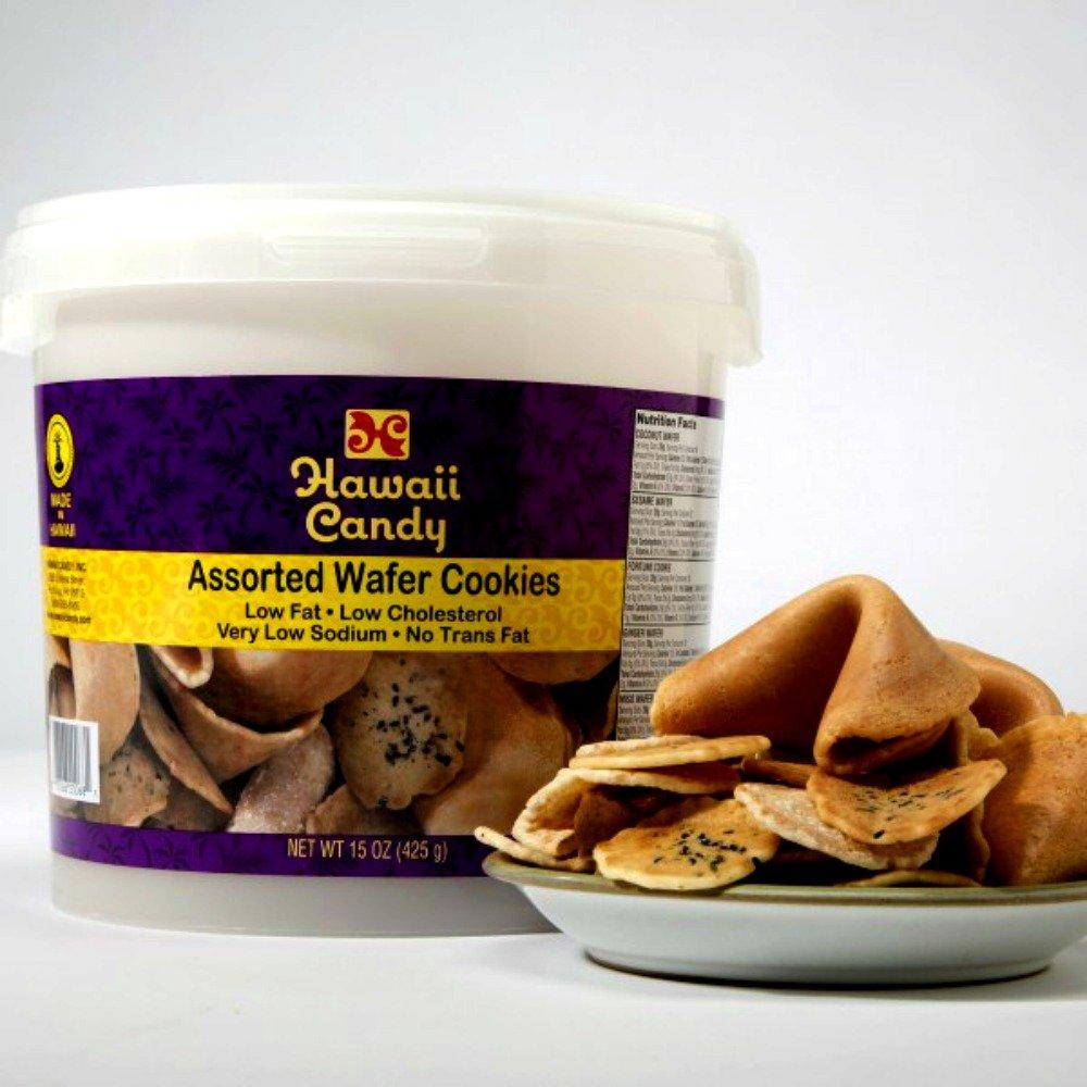 Hawaii Candy Assorted Wafer Cookies 15 ounce bucket