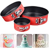 Zomoza Springform Pan, Non-Stick Springform Pan Round Leakproof Cake Pan Pie Mold Bakeware with Removable Smooth Bottom and Quick-Release 3pcs