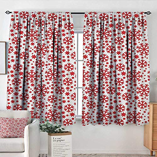 Theresa Dewey Waterproof Window Curtain Snowflake,Stars Seven Pointed Stars and Dots Pattern Abstract Motifs New Year Illustration, Red White,Blackout Draperies for Bedroom 42